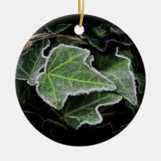 秋のキヅタの~のオーナメント 陶器製丸型オーナメント