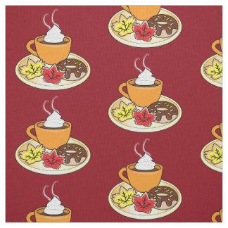 秋のクッキーおよびコーヒー ファブリック