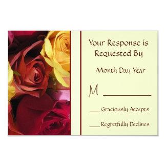 秋のバラ花RSVPのカード カード