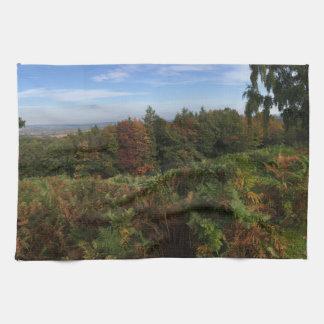 秋のパノラマ式の英国の森林景色 キッチンタオル