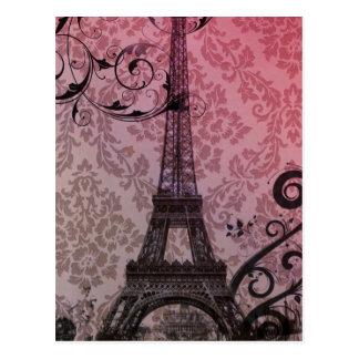 秋のピンクのダマスク織のパリロマンチックなエッフェル塔 ポストカード