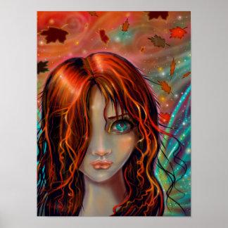 秋のファンタジーの妖精の芸術12 x 16の魔法 ポスター