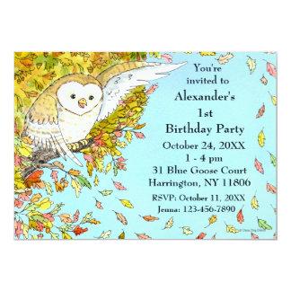 秋のフクロウの招待状 カード