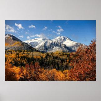 秋のユタ山の山Timpanogos ポスター