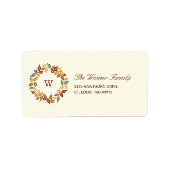 秋のリースの感謝祭の宛名ラベル 宛名ラベル