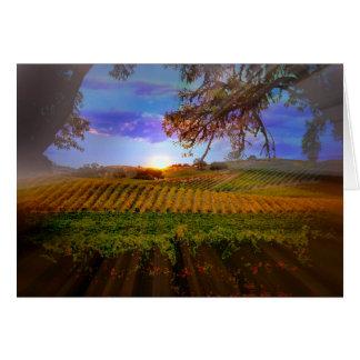 秋のワインのブドウ園の日の出のブランクのメッセージカード グリーティングカード