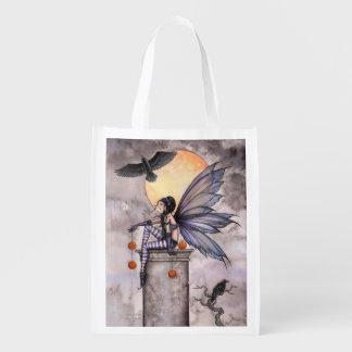 秋のワタリガラスの妖精のファンタジーの芸術の買い物袋 エコバッグ