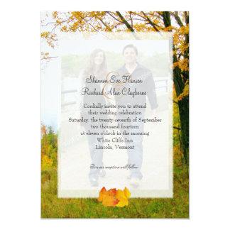 秋の写真の結婚式招待状の私達の木 カード