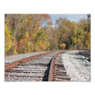 秋の写真の鉄道線路 フォトプリント