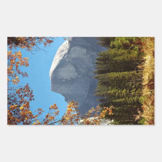 秋の半分のドーム-ヨセミテ国立公園 長方形シール