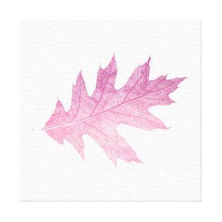 秋の印象のピンクの大理石の葉の白 キャンバスプリント