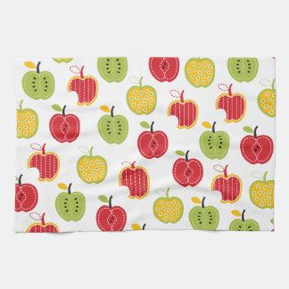 秋の収穫のりんごパターン台所皿タオル キッチンタオル