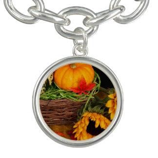 秋の収穫のヒマワリ チャームブレスレット