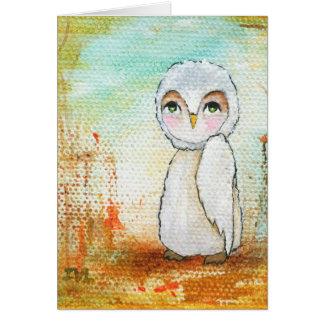 秋の喜び、白いフクロウのお洒落な抽象美術 カード