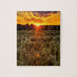 秋の夕べのfarmfield上の美しい日没 ジグソーパズル