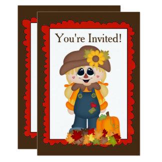 秋の女の子のかかしは単語の招待状を加えます カード