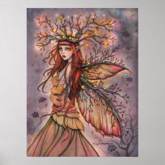 秋の女王のモーリーハリスンによる妖精のファンタジーの芸術 ポスター