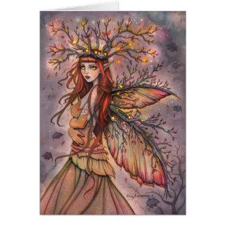 秋の女王の妖精のファンタジーの芸術カード グリーティングカード