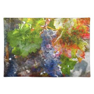 秋の季節のつる植物のブドウ ランチョンマット