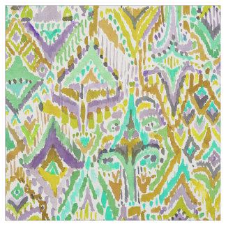 秋の寺院の種族のBohoのシックなイカットの水彩画 ファブリック