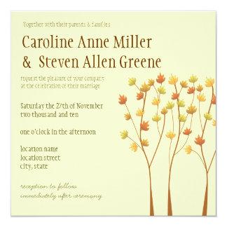 秋の小枝の木の結婚式招待状 カード
