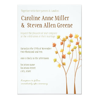 秋の小枝の木5x7の結婚式招待状 カード