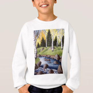 秋の川の景色 スウェットシャツ