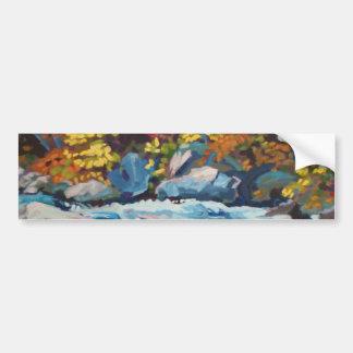 秋の川の絵画 バンパーステッカー
