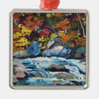 秋の川の絵画 メタルオーナメント