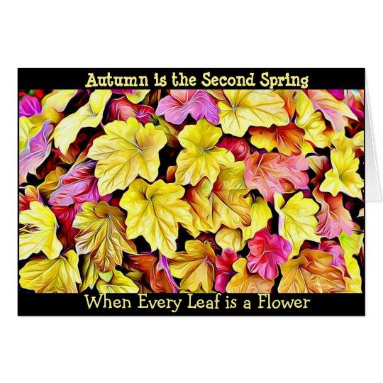 秋の引用文の紅葉のかわいらしく季節的なカード カード