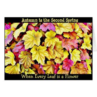 秋の引用文の紅葉のかわいらしく季節的なカード グリーティングカード