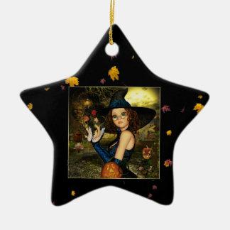秋の恵みの魔法使いの陶磁器の星のオーナメント セラミックオーナメント