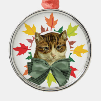 秋の愛情のある猫 メタルオーナメント