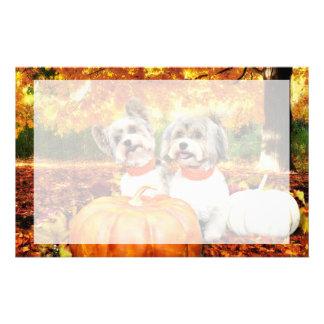 秋の感謝祭-最高及びレオ-ヨークシャーテリア 便箋