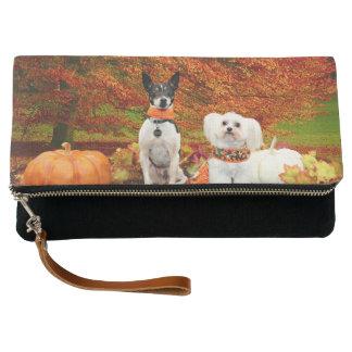 秋の感謝祭- Montyのフォックステリア犬及びMillyのモルト クラッチバッグ