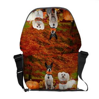 秋の感謝祭- Montyのフォックステリア犬及びMillyのモルト メッセンジャーバッグ