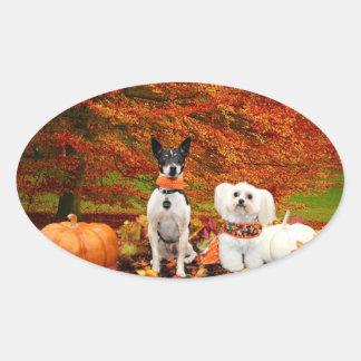 秋の感謝祭- Montyのフォックステリア犬及びMillyのモルト 楕円形シール