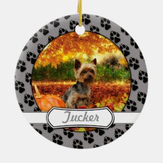 秋の感謝祭- Tucker -ヨークシャーテリア セラミックオーナメント