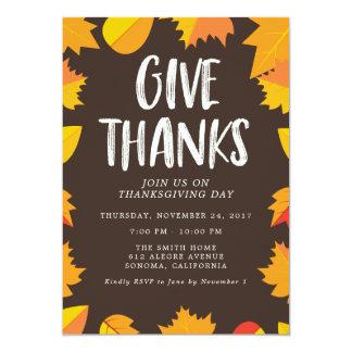 秋の手書きの感謝祭のパーティの招待状 カード