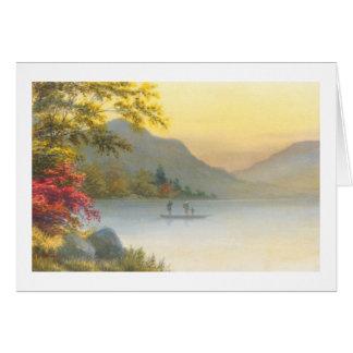 秋の日本人の水彩画の湖のKenyu Tのボート カード
