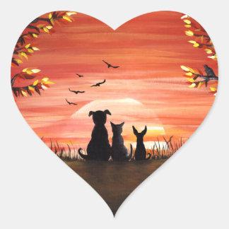 秋の日没のマットの秋 ハートシール
