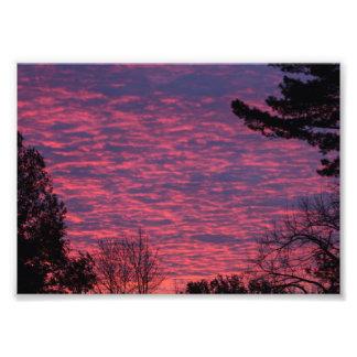 秋の日没、オハイオ州 フォトプリント