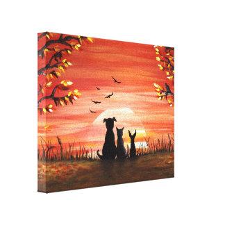 秋の日没 キャンバスプリント
