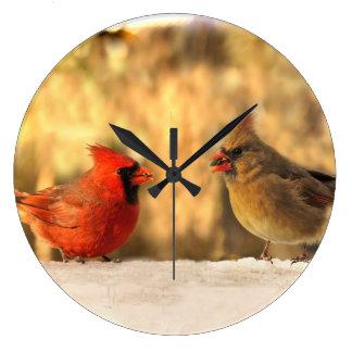 秋の時計の(鳥)ショウジョウコウカンチョウ ラージ壁時計