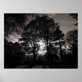 秋の景色のビュート公園カーディフ ポスター