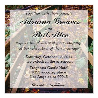 秋の景色の木階段 カード