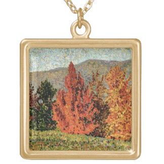 秋の景色、c.1903 (キャンバスの油) ゴールドプレートネックレス