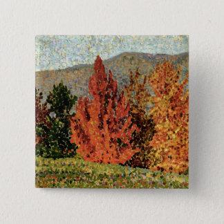 秋の景色、c.1903 (キャンバスの油) 5.1cm 正方形バッジ