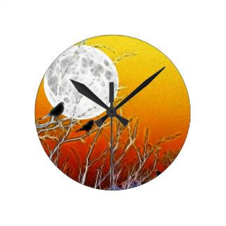 秋の月 ラウンド壁時計