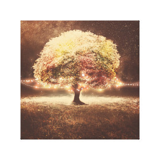 秋の木およびロマンチックで素朴なひもライト キャンバスプリント